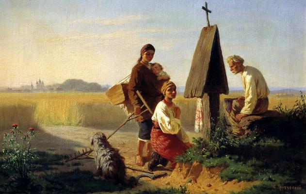 Konstantin Aleksandrovich Trutovsky. Gathering at the Church