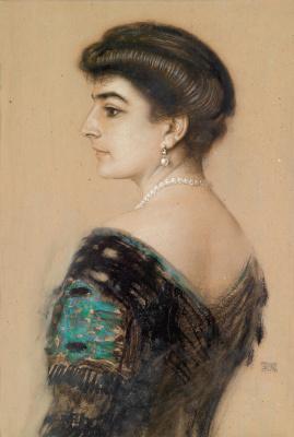 Franz von Pieces. Portrait of a lady. mixed media.