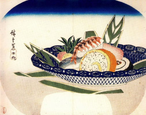 Utagawa Hiroshige. Sushi in a bowl