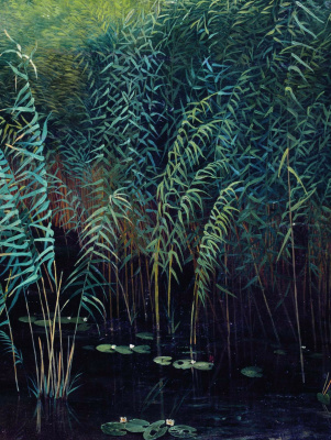 Isaac Levitan. Reeds and water lilies