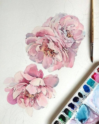 Неизвестный  художник. Цветы. акварель