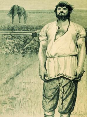 """Andrei Petrovich Ryabushkin. Mikula Selyaninovich. 1895 Illustration for the book """"Russian epic warriors"""""""