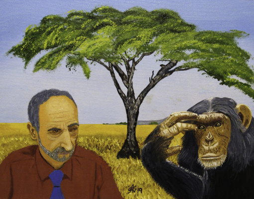 Artashes Vladimirovich Badalyan. Self-portrait with a chimpanzee on the background of the poster - x-hardboard-m - 35x45