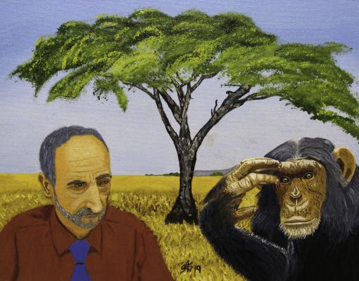 Artashes Vladimirovich Badalyan. Self-portrait with a chimpanzee on the background of the poster - x-hardboard-m - 35x45