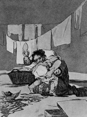 "Francisco Goya. ""Because he broke the jug. Which one is worse?"" (Series ""Caprichos"", page 25)"