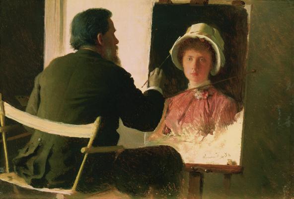 Ivan Nikolayevich Kramskoy. Kramskoy painting a portrait of his daughter