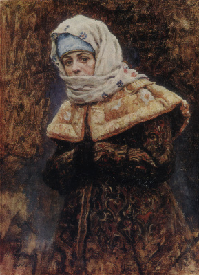 "Vasily Ivanovich Surikov. The boyar's daughter. A sketch for the painting ""Boyarynya Morozova"""
