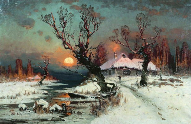 Юлий Юльевич Клевер. Закат солнца зимой