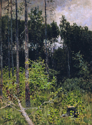 Isaac Levitan. The aspen grove. Gray day