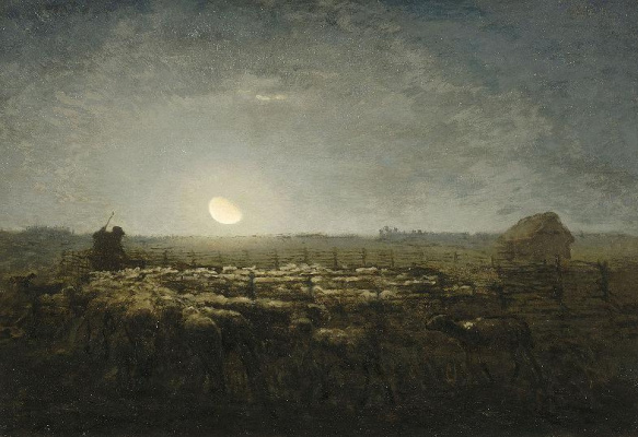 Jean-François Millet. Shepherd with flock of sheep in the moonlight