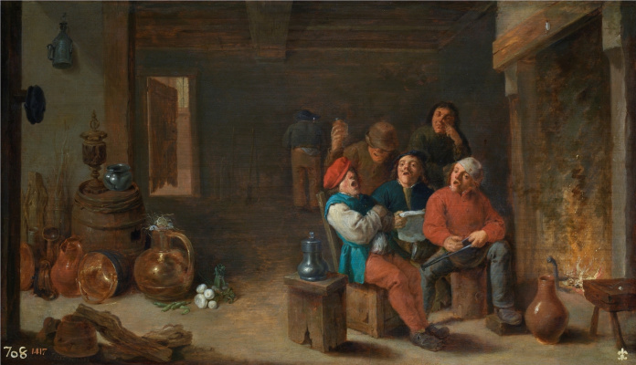 David Teniers the Younger. Laughing peasants in the kitchen (Village Songs)