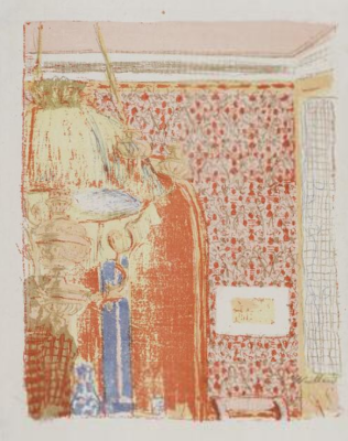 "Jean Edouard Vuillard. ""Landscapes and interiors"". Interior with pink Wallpaper II"