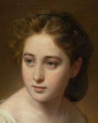 Franz Xaver Winterhalter. Portrait of a young woman. Fragment