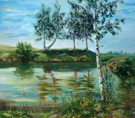 Ekaterina Viktorovna Mitrofanova. Pond, Russian Countryside
