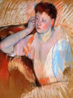 Mary Cassatt. Clarissa turned left with her hand to the ear