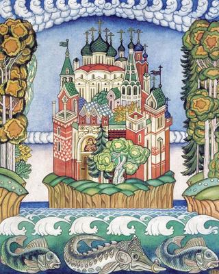 Ivan Yakovlevich Bilibin. Hail Kitezh. Illustration for the epic