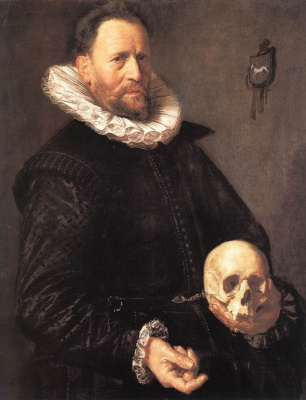 France Hals. Portrait of a man with a skull