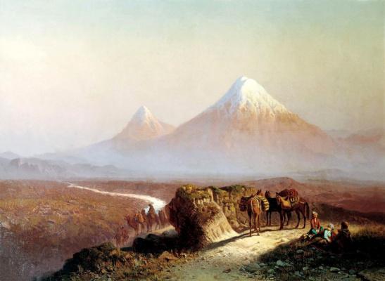 Илья Николаевич Занковский. В горах. Вид на Арарат