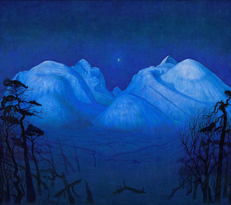 Harald Oscar Solberg. Winter Night in the Mountains
