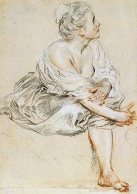 Antoine Watteau. Sitting young woman