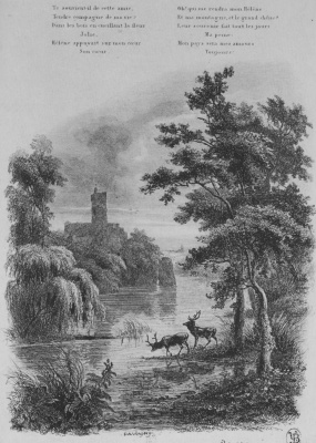 """Charles-Francois Daubigny. Illustrations to the collection """"French folk songs and tunes"""": How many sweet memories..., the third vignette"""