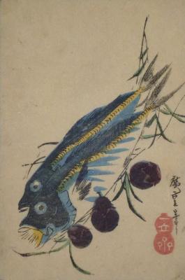 Утагава Хиросигэ. Две ставриды и баклажаны