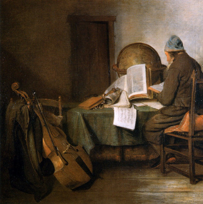 Gerard Terborch (ter Borch). Scientist at the table in his office