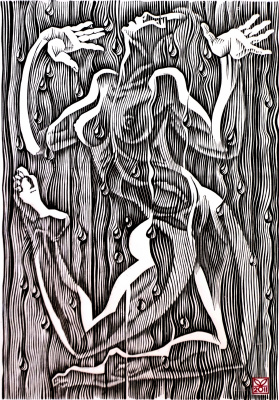 "Vladimir Kataev. ""The dance of summer rain-1"", linocut, 65Х45, 2011"