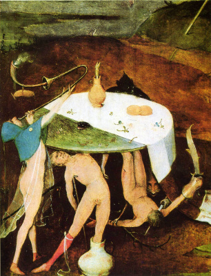 Hieronymus Bosch. The Temptation Of St. Anthony. Right wing of a triptych. Fragment