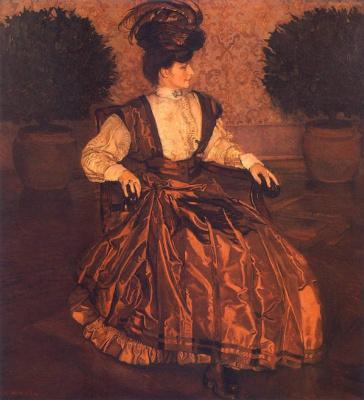 Юзеф Мехоффер. Портрет жены на фоне лавров