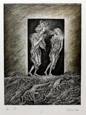 Leonid Valeryevich Stroganov. Adam and Eve in skins