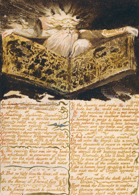 William Blake. The first book Urizen. Urizen with the book