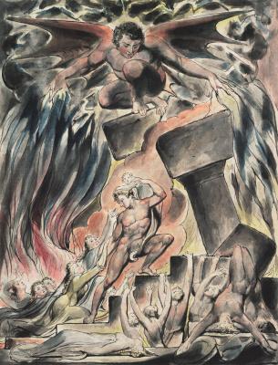 Уильям Блейк. Книга Иова. Сыновья и дочери Иова, ошеломленные Сатаной