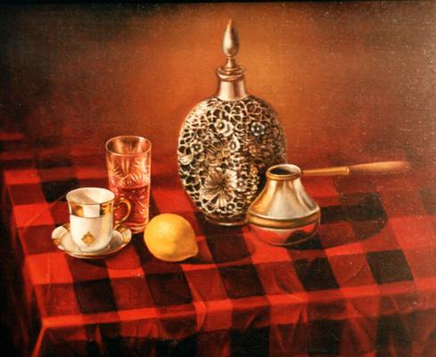Vladimir Vasilyevich Abaimov. Still-life on a Red Table-Cloth