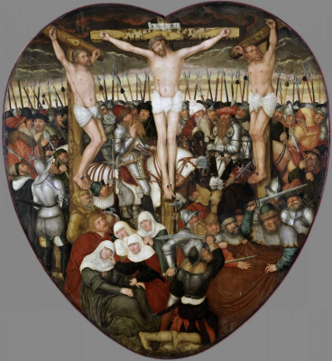 Lucas the Younger Cranach. The Altar Colditzer. Central part: the Crucifixion
