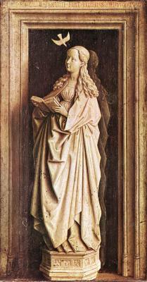 "Jan van Eyck. A fragment of a diptych ""Annunciation"". The Virgin Mary"