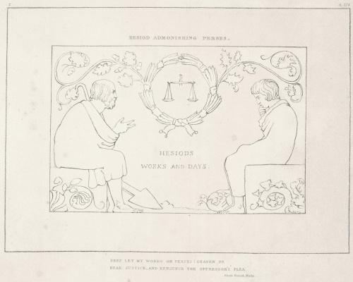 """Уильям Блейк. Иллюстрации к поэме Гесиода """"Труды и дни. Теогония"""". Лист 2"""
