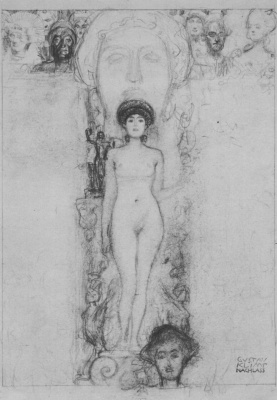 "Gustav Klimt. Sketch of ""Allegory of sculpture"""