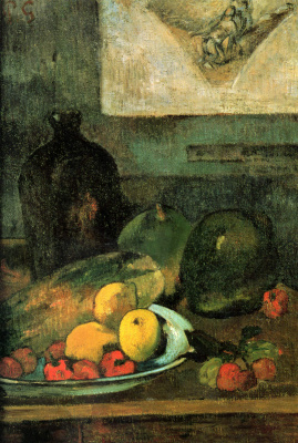 Paul Gauguin. Still life on the background of the prints Delacroix