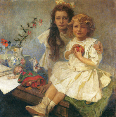 Alphonse Mucha. Jaroslava and Jiri - the artist's children