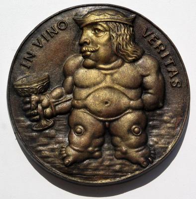 "Александр Иванович Зименко. ""Бахус"" рельеф,керамика диаметр 16 см"
