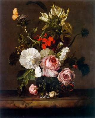 A bouquet of flowers in a vase