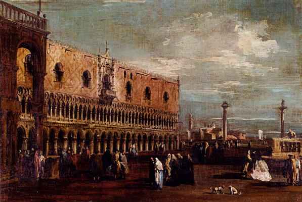 Francesco Guardi. View of Piazzetta looking south