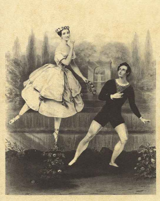 Alfred Edward Chalon. Dancing couple Marie Taglioni and A. Guerra