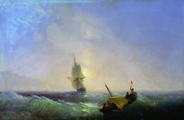 Ivan Aivazovsky. Escaping from the shipwreck