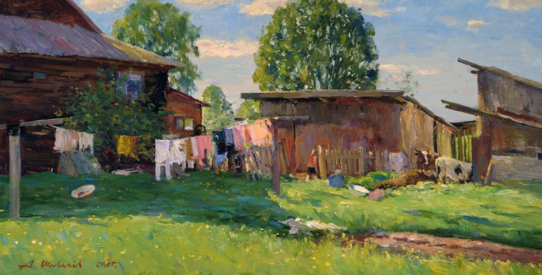 Alexander Victorovich Shevelyov. Behind the house.May.Oil on canvas 35,5 # 68,5 cm 2010
