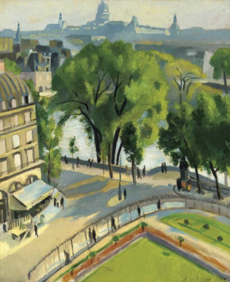 View of the embankment of the Louvre