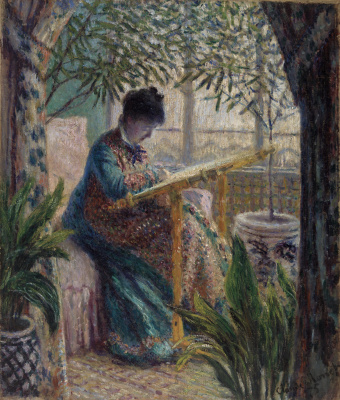 Claude Monet. Camille embroidering