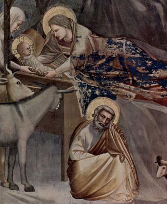 Giotto di Bondone. The birth of Christ, detail