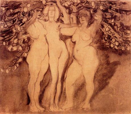 Франтишек Купка. Осеннее солнце, три богини (эскиз)